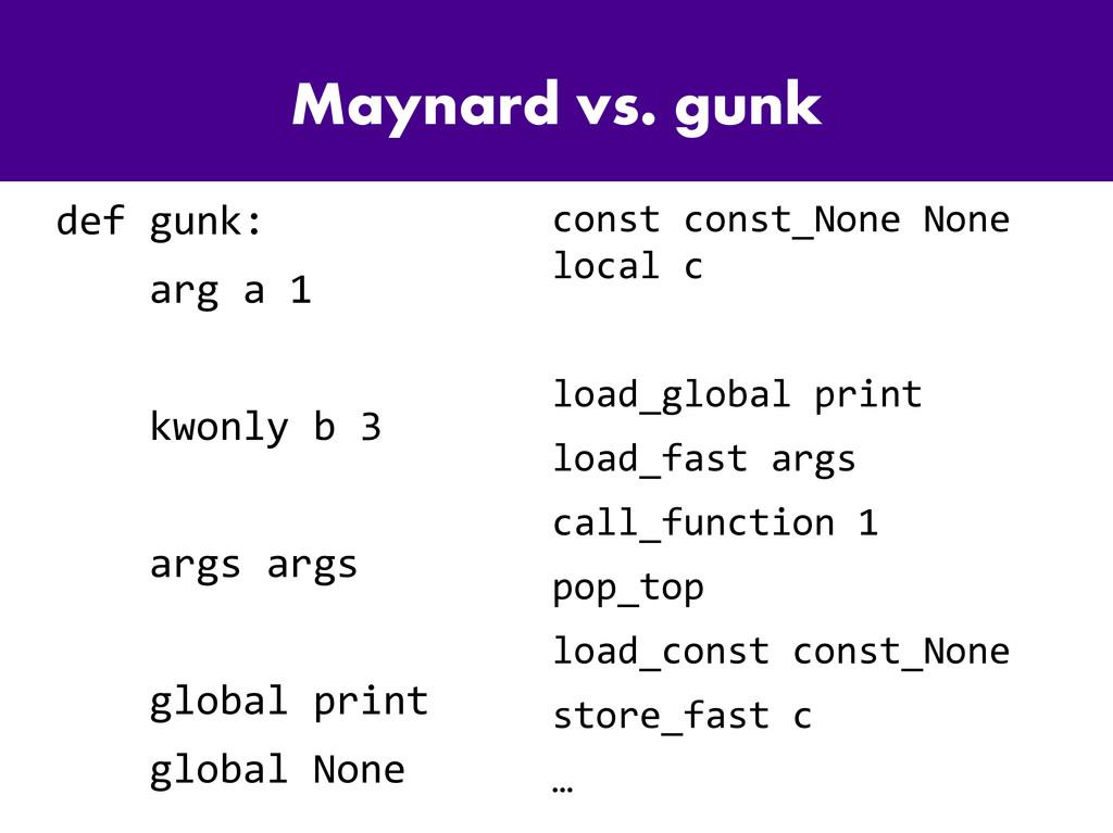 Maynard vs. gunk def gunk: arg a 1 kwonly b 3 a...