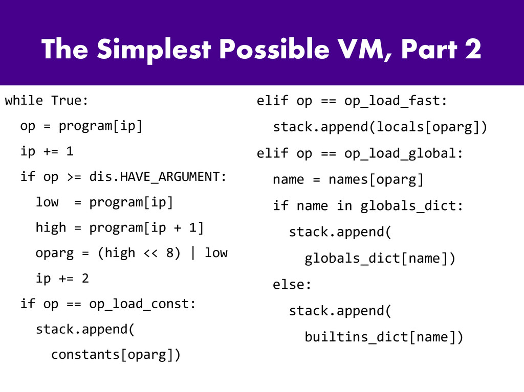 The Simplest Possible VM, Part 2 while True: op...