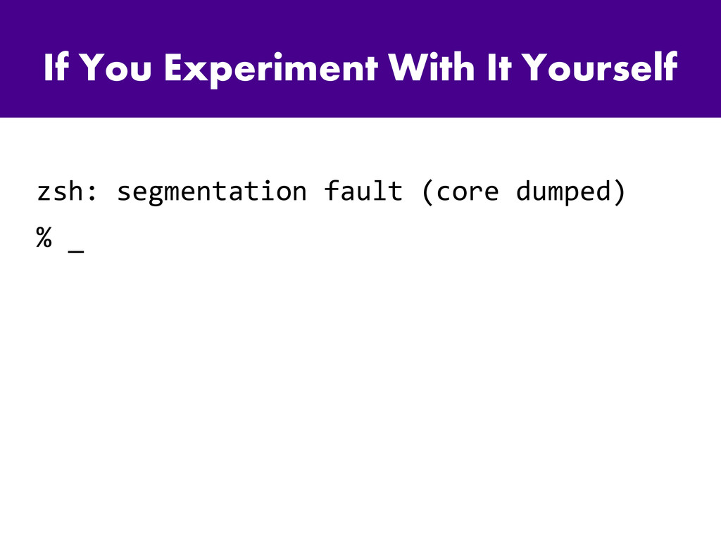 If You Experiment With It Yourself zsh: segment...
