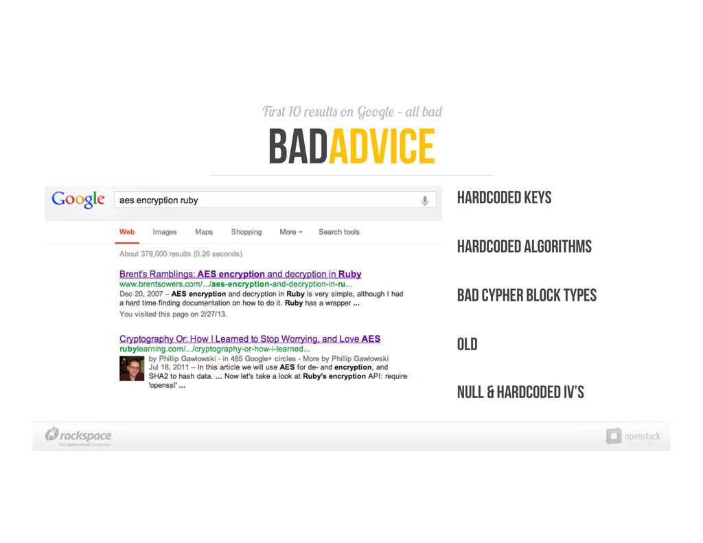 First 10 results on Google – all bad BadAdvice ...