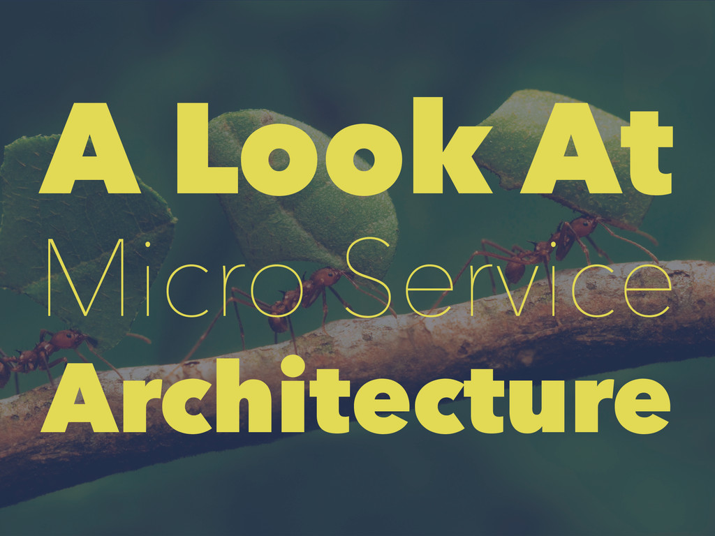 A Look At Micro Service Architecture