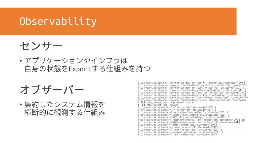 Observability • Export •