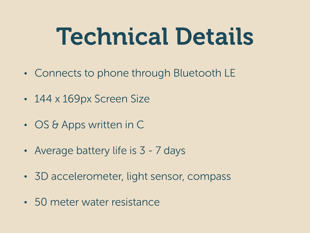 Technical Details • Connects to phone through B...