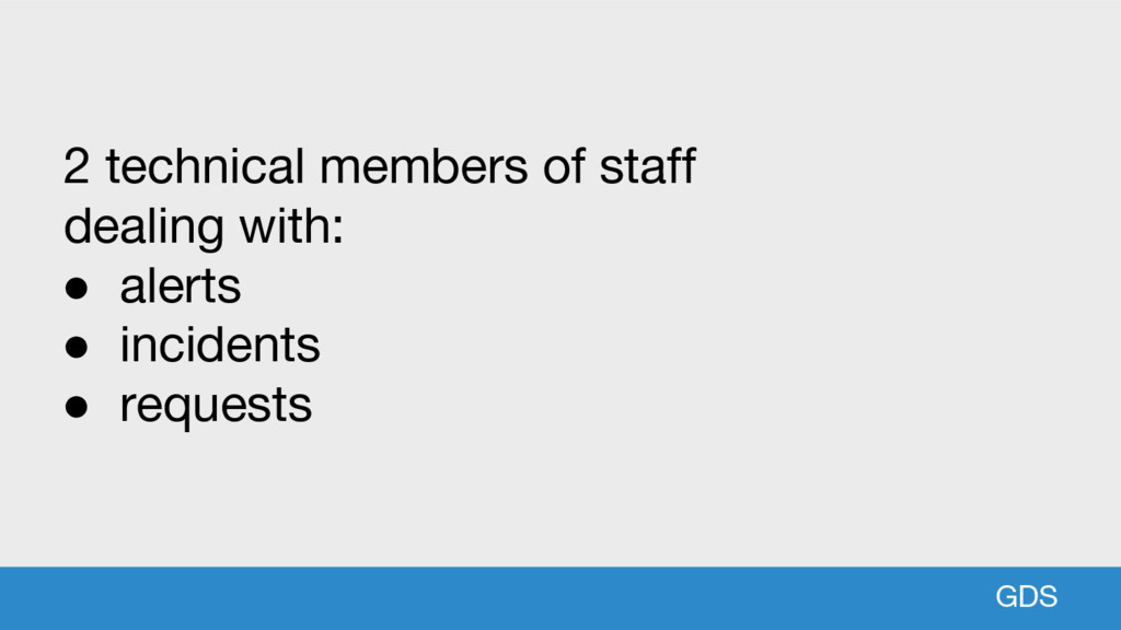 GDS 2 technical members of staff dealing with: ...