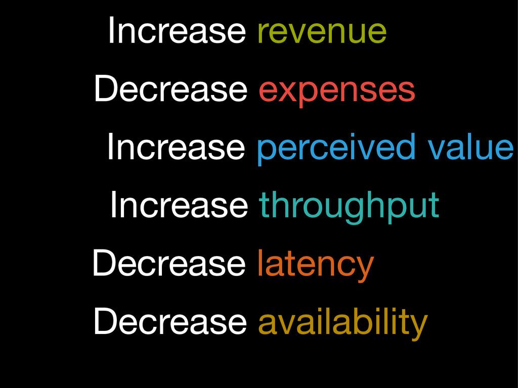 Decrease expenses Increase revenue Increase per...