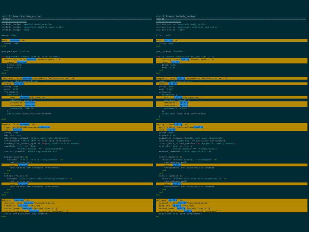 +-- 2 lines: include_recipe 'mysql'------------...