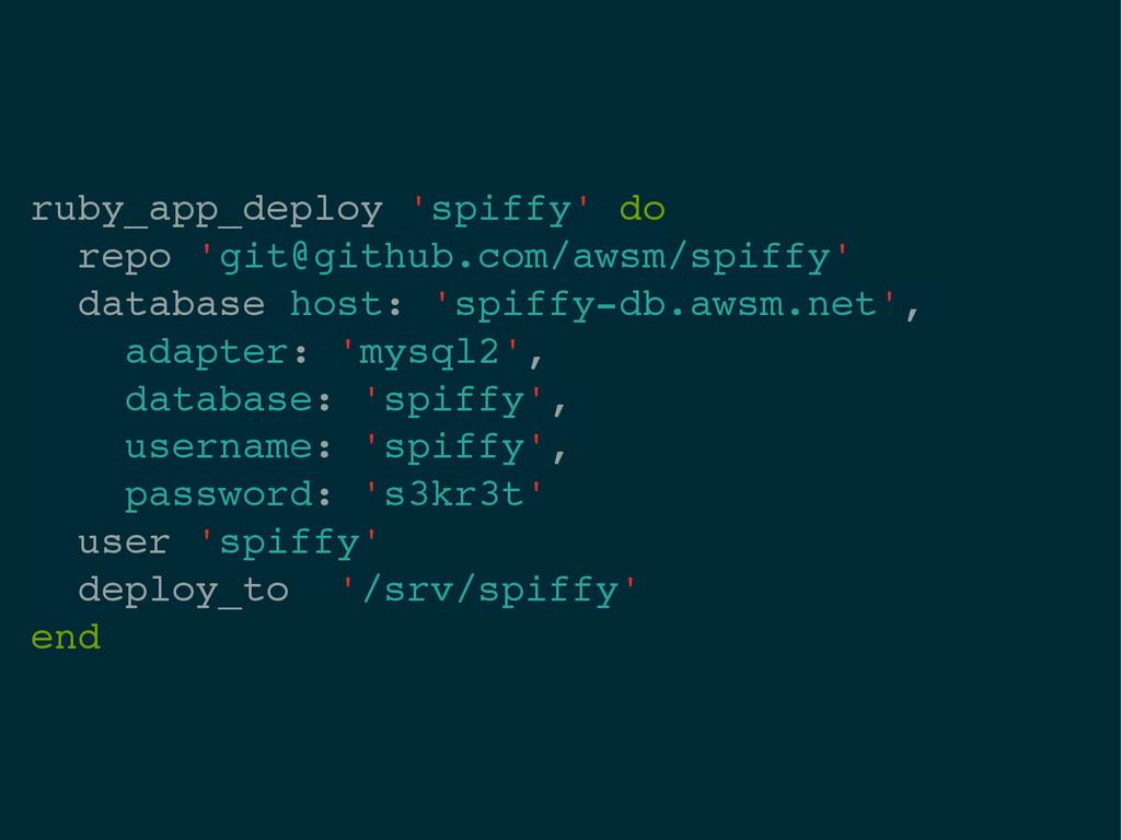 ruby_app_deploy 'spiffy' do! repo 'git@github.c...