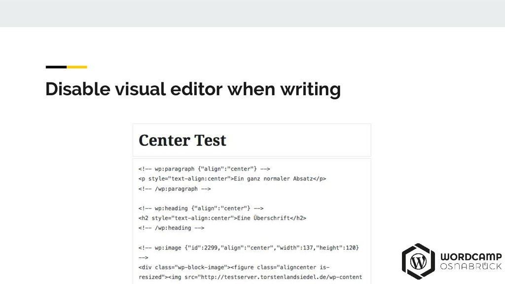 Disable visual editor when writing