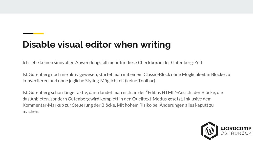Disable visual editor when writing Ich sehe kei...