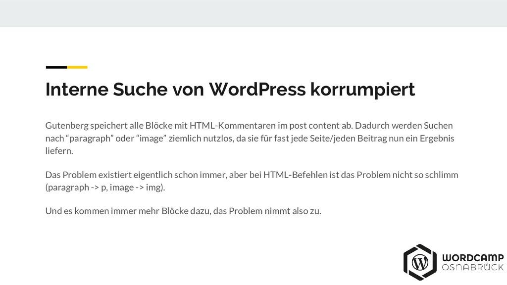 Interne Suche von WordPress korrumpiert Gutenbe...