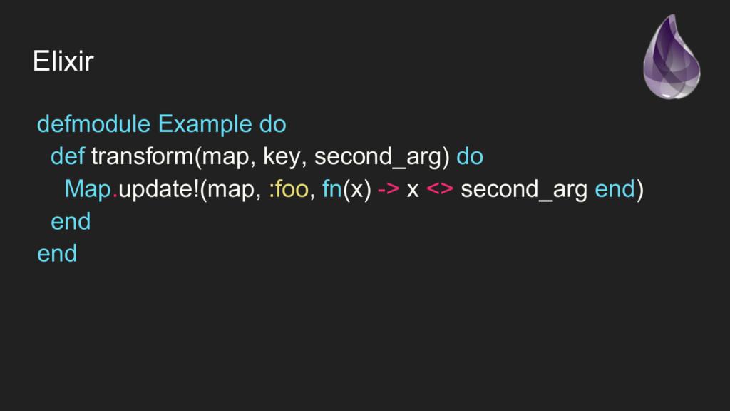 defmodule Example do def transform(map, key, se...