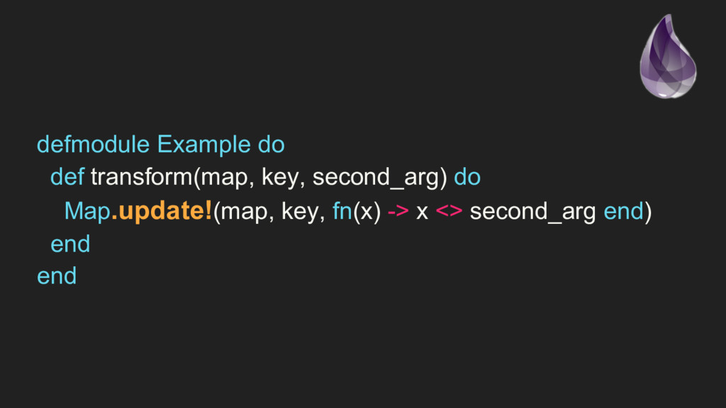 defmodule Example do def transform(map, key, se...