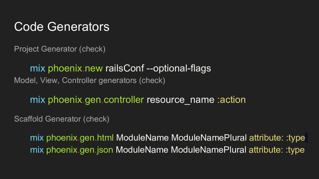 Code Generators Project Generator (check) mix p...