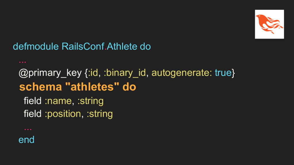 defmodule RailsConf.Athlete do ... @primary_key...
