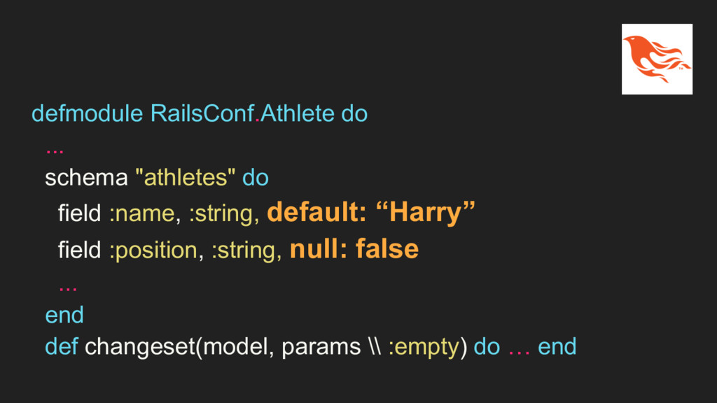 "defmodule RailsConf.Athlete do ... schema ""athl..."
