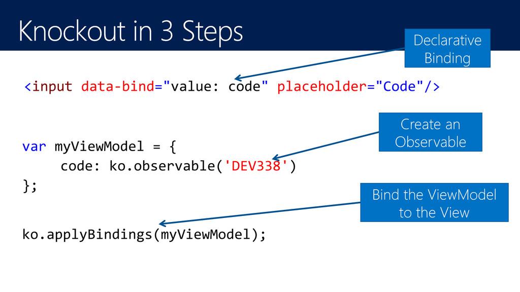 "<input data-bind=""value: code"" placeholder=""Cod..."