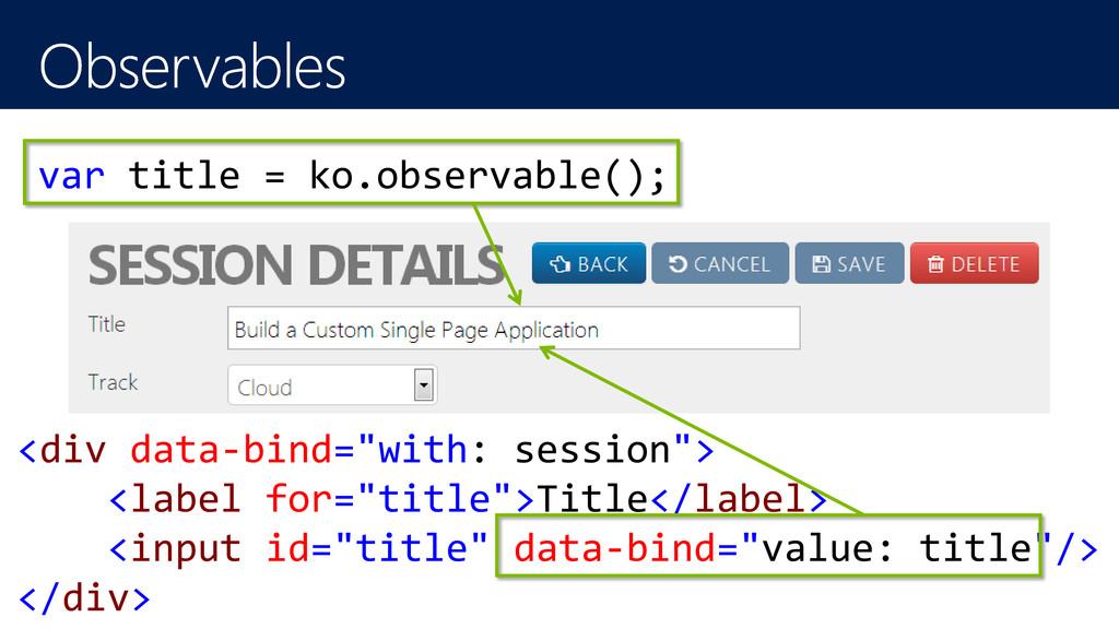 """var title = ko.observable(); <div data-bind=""""wi..."""