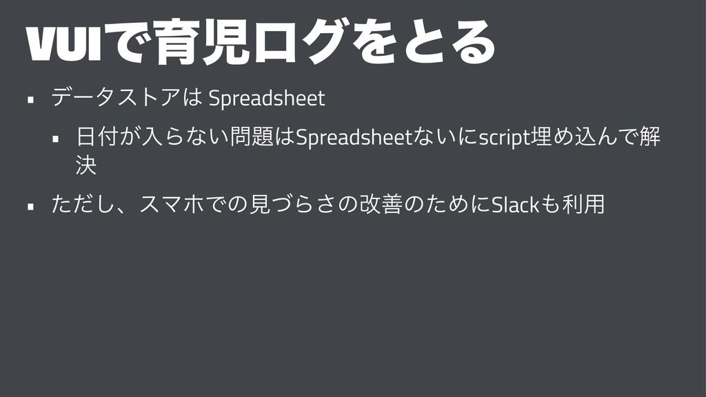 VUIͰҭϩάΛͱΔ • σʔλετΞ Spreadsheet • ͕ೖΒͳ͍S...