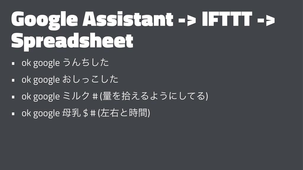 Google Assistant -> IFTTT -> Spreadsheet • ok g...