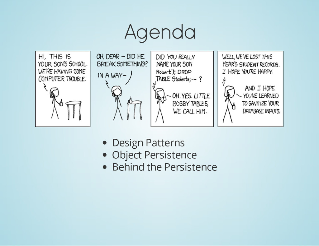 Agenda Design Patterns Object Persistence Behin...