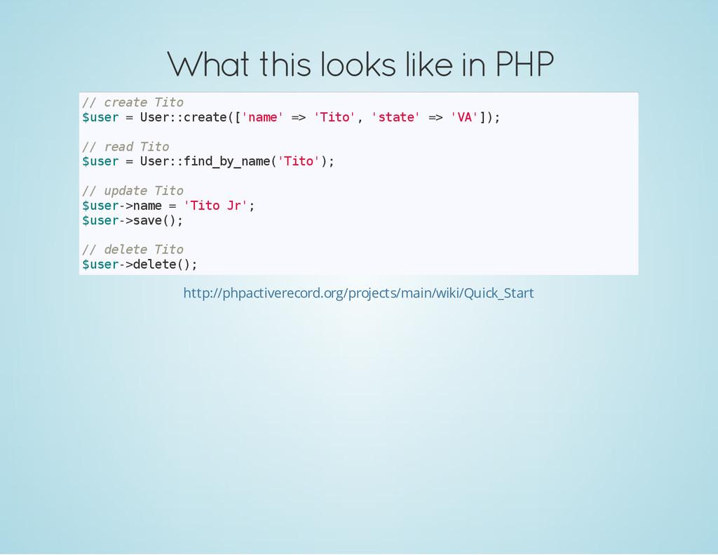 What this looks like in PHP / / c r e a t e T i...