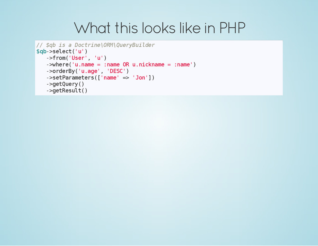 What this looks like in PHP / / $ q b i s a D o...