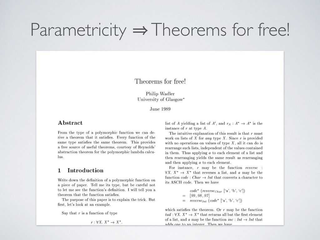Parametricity 㱺 Theorems for free!
