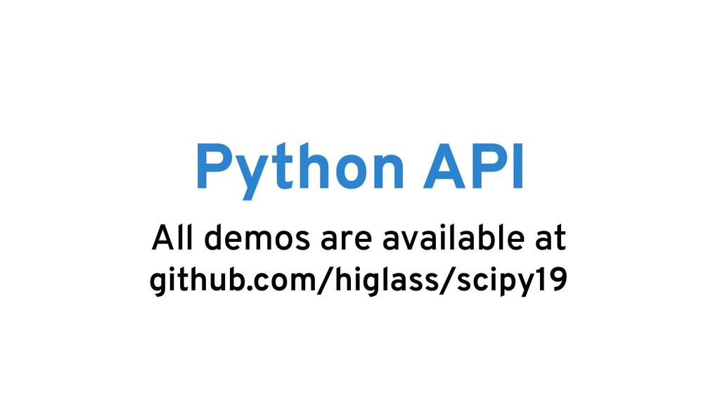 Python API All demos are available at github.co...