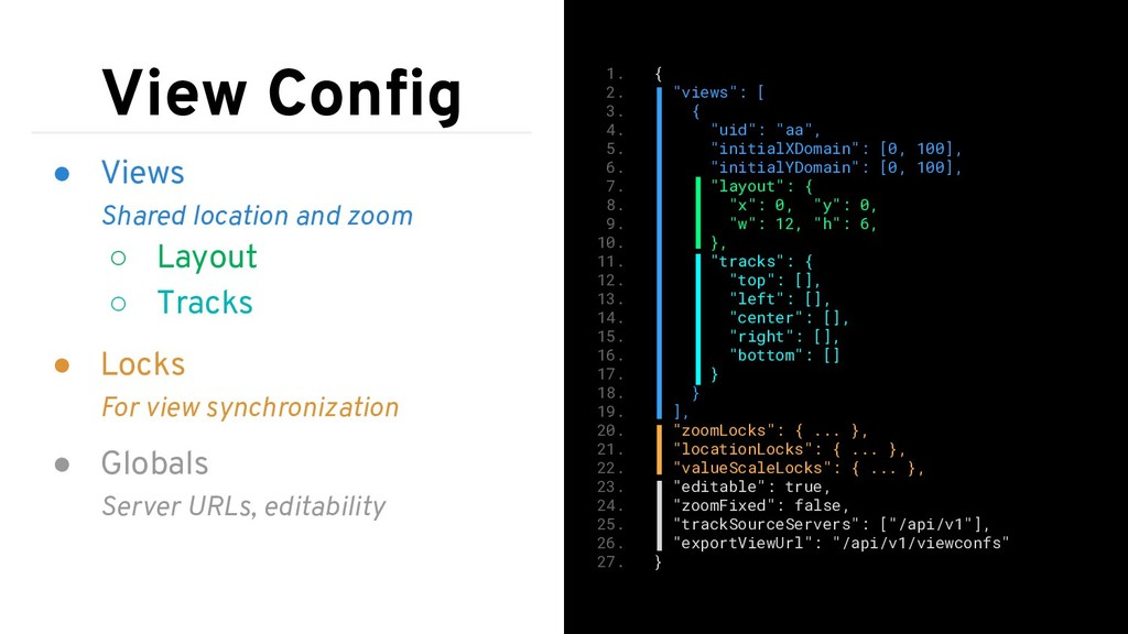 View Config ● Views Shared location and zoom ○ L...