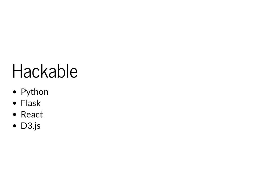 Hackable Python Flask React D3.js