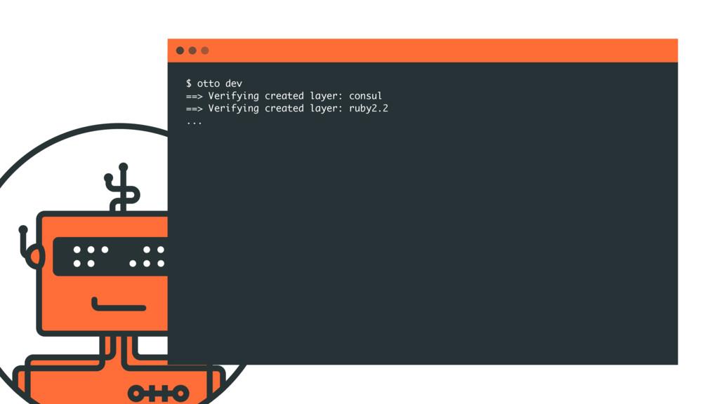 $ otto dev ==> Verifying created layer: consul ...