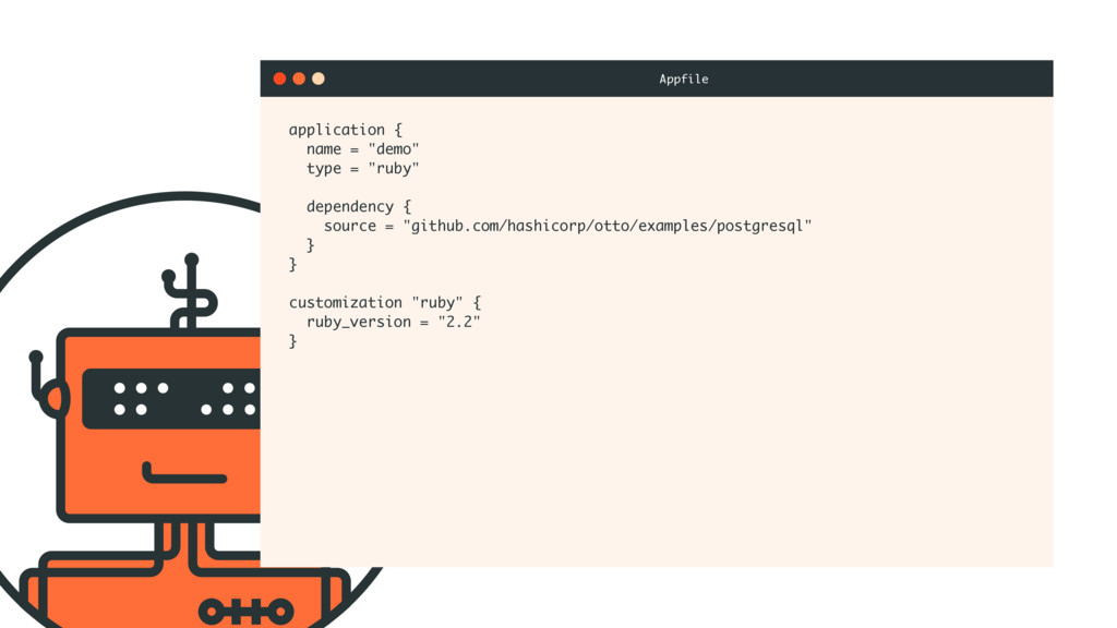 "application { name = ""demo"" type = ""ruby"" depen..."