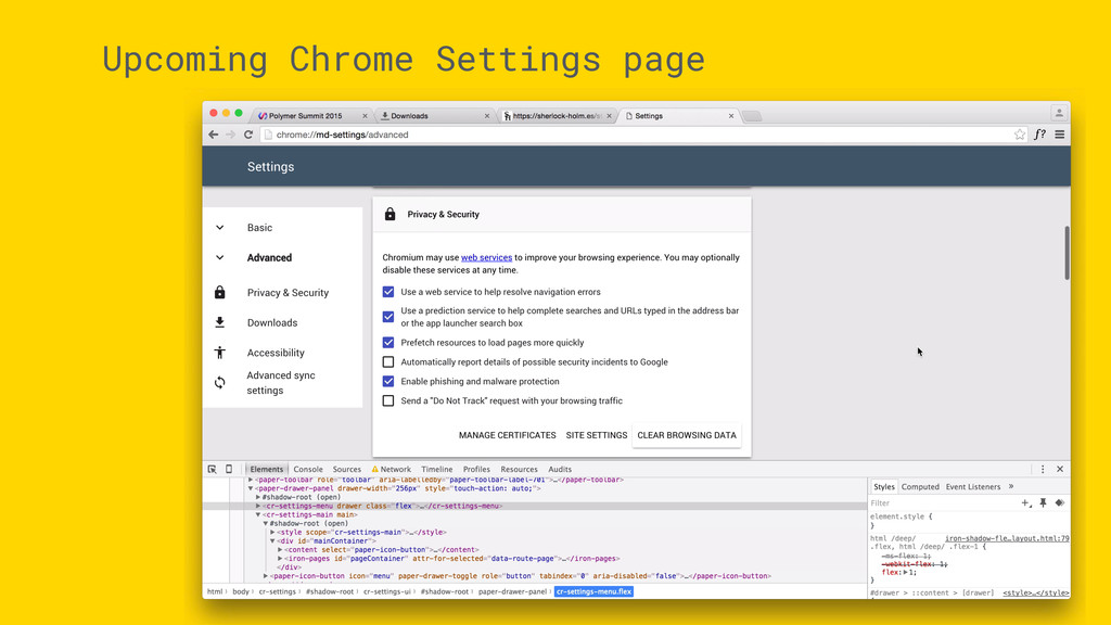 Upcoming Chrome Settings page