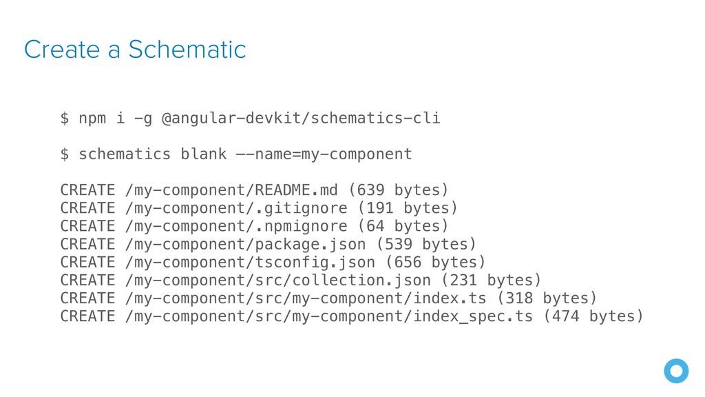 Create a Schematic $ npm i -g @angular-devkit/s...