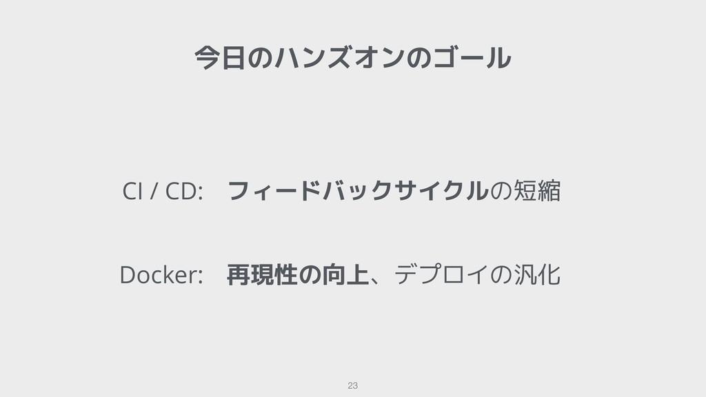 !23 今日のハンズオンのゴール CI / CD: Docker: フィードバックサイクルの短...