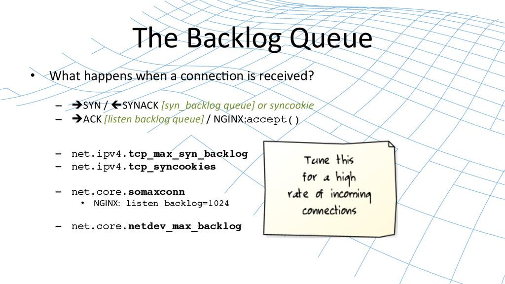 The Backlog Queue  • What happens...