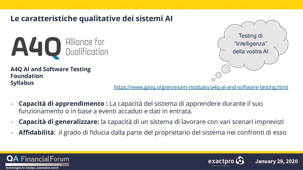 Le caratteristiche qualitative dei sistemi AI -...