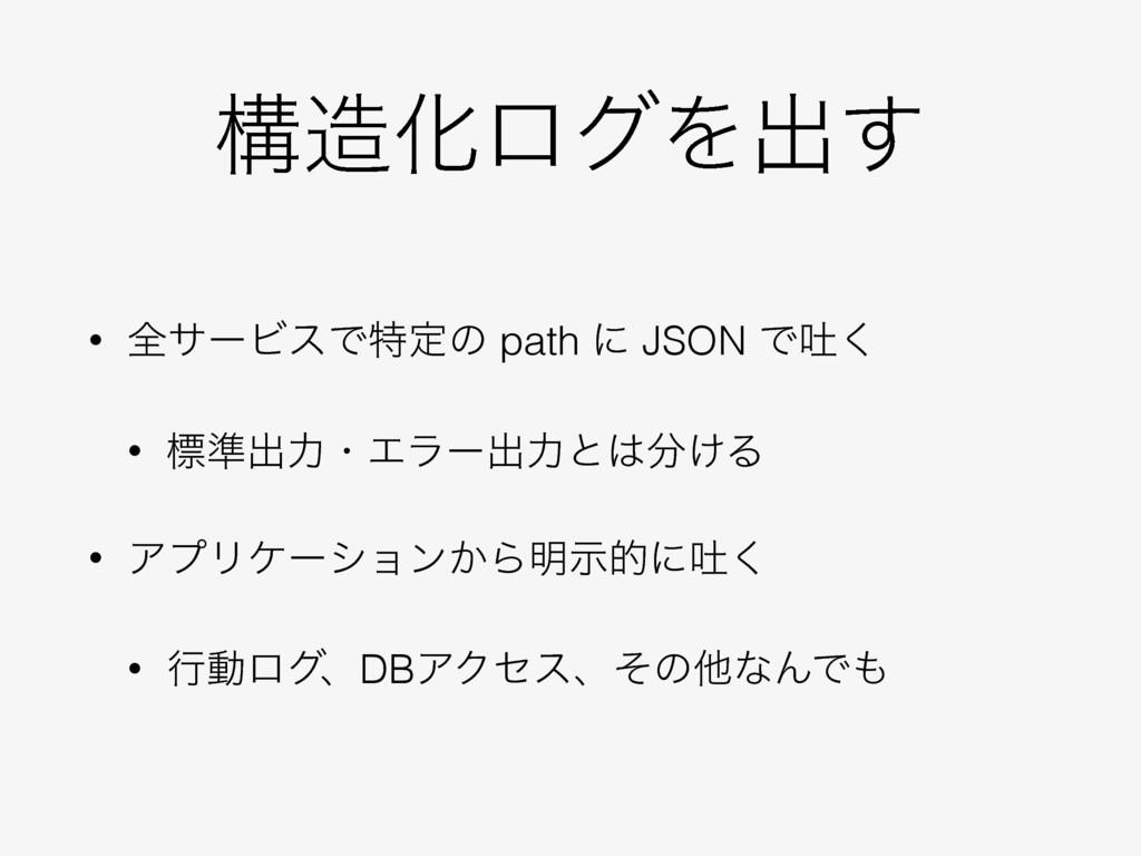ߏԽϩάΛग़͢ • શαʔϏεͰಛఆͷ path ʹ JSON Ͱు͘ • ඪ४ग़ྗɾΤϥʔ...