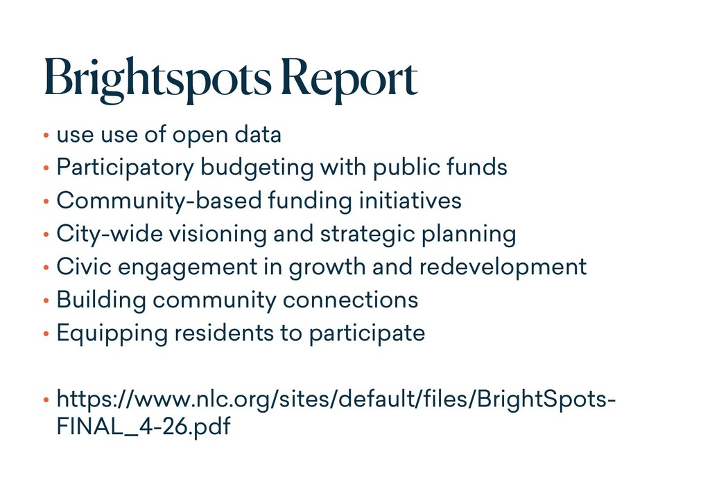 BrightspotsReport • use use of open data • Part...