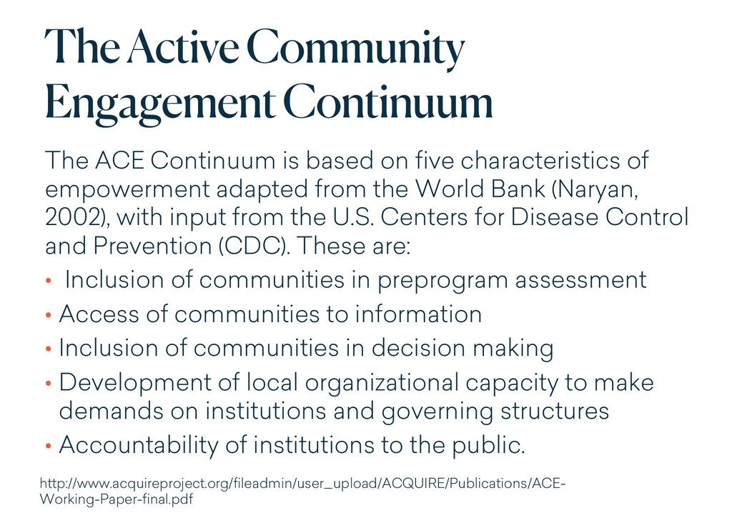 The Active Community Engagement Continuum The A...