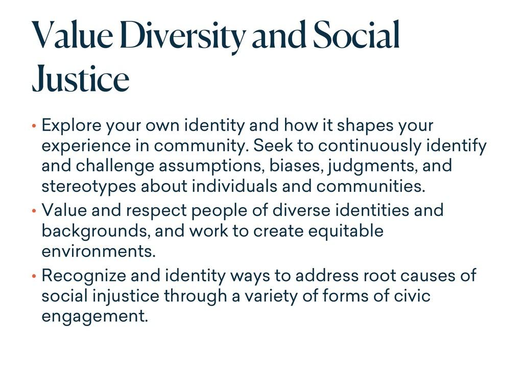 Value Diversity and Social Justice • Explore yo...