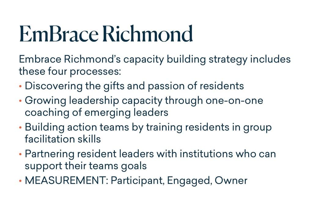 EmBraceRichmond Embrace Richmond's capacity bui...
