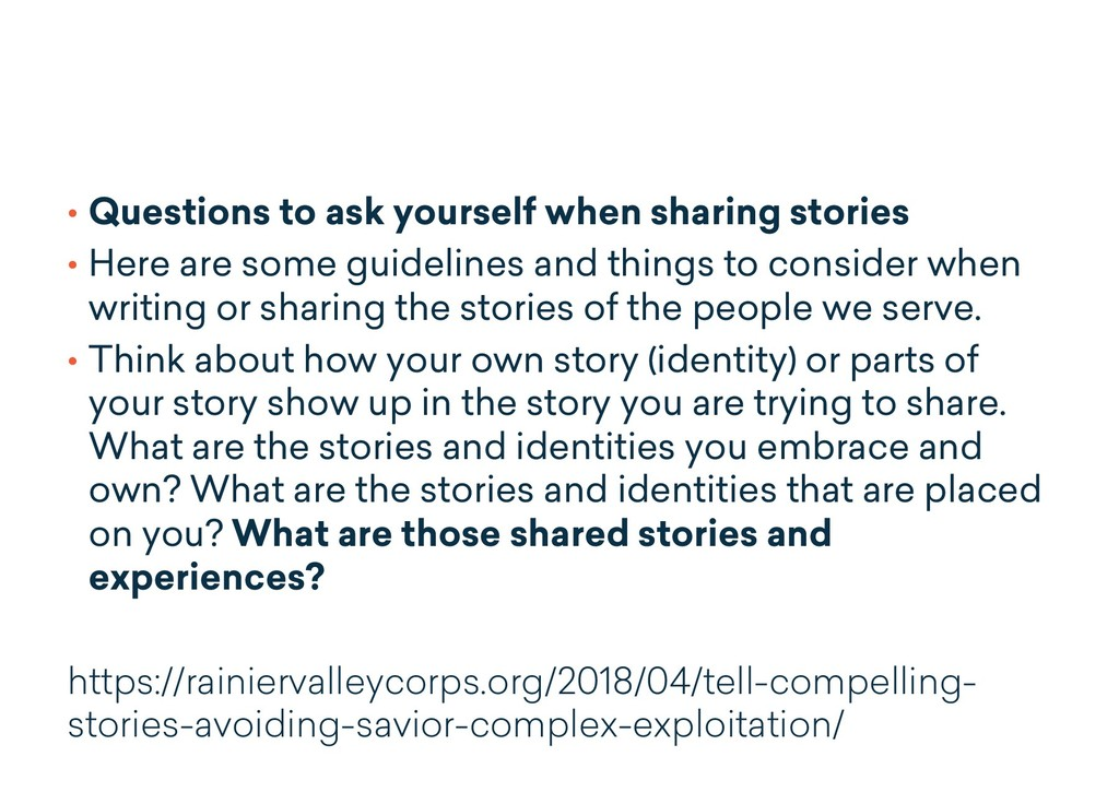 • Questions to ask yourself when sharing storie...