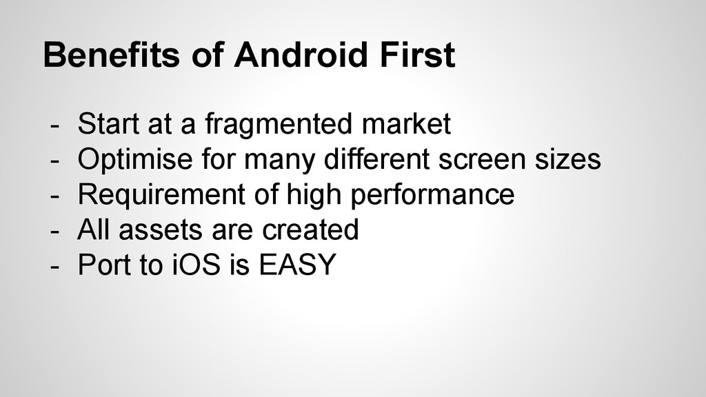 Benefits of Android First - Start at a fragment...