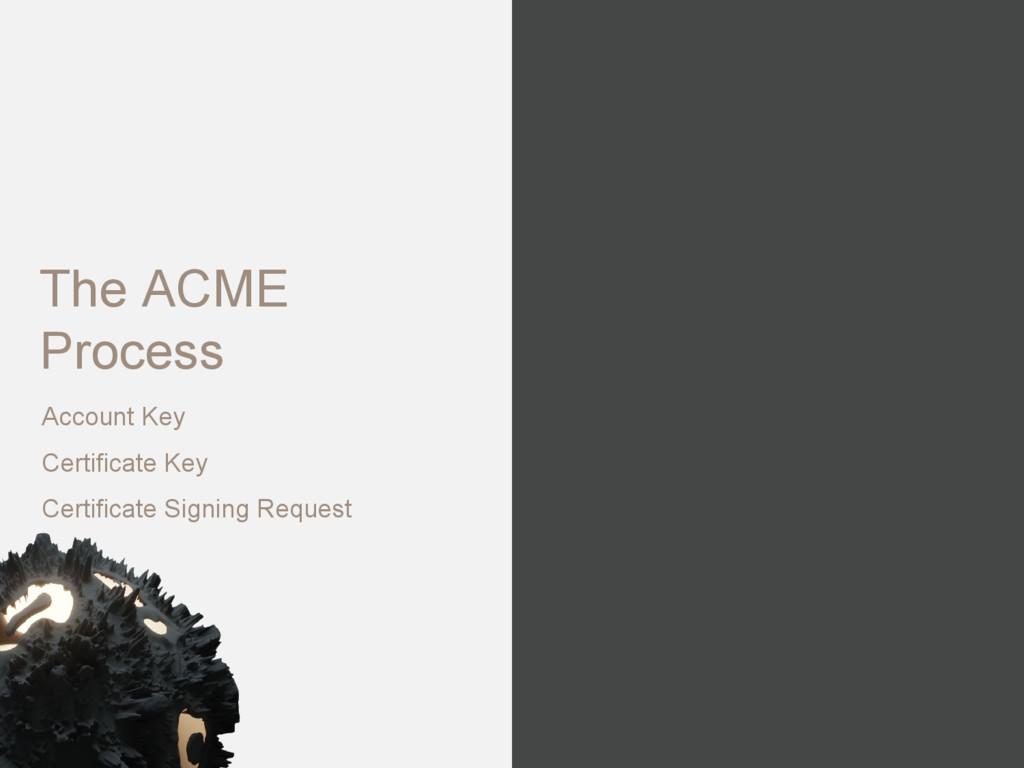 The ACME Process Account Key Certificate Key Ce...