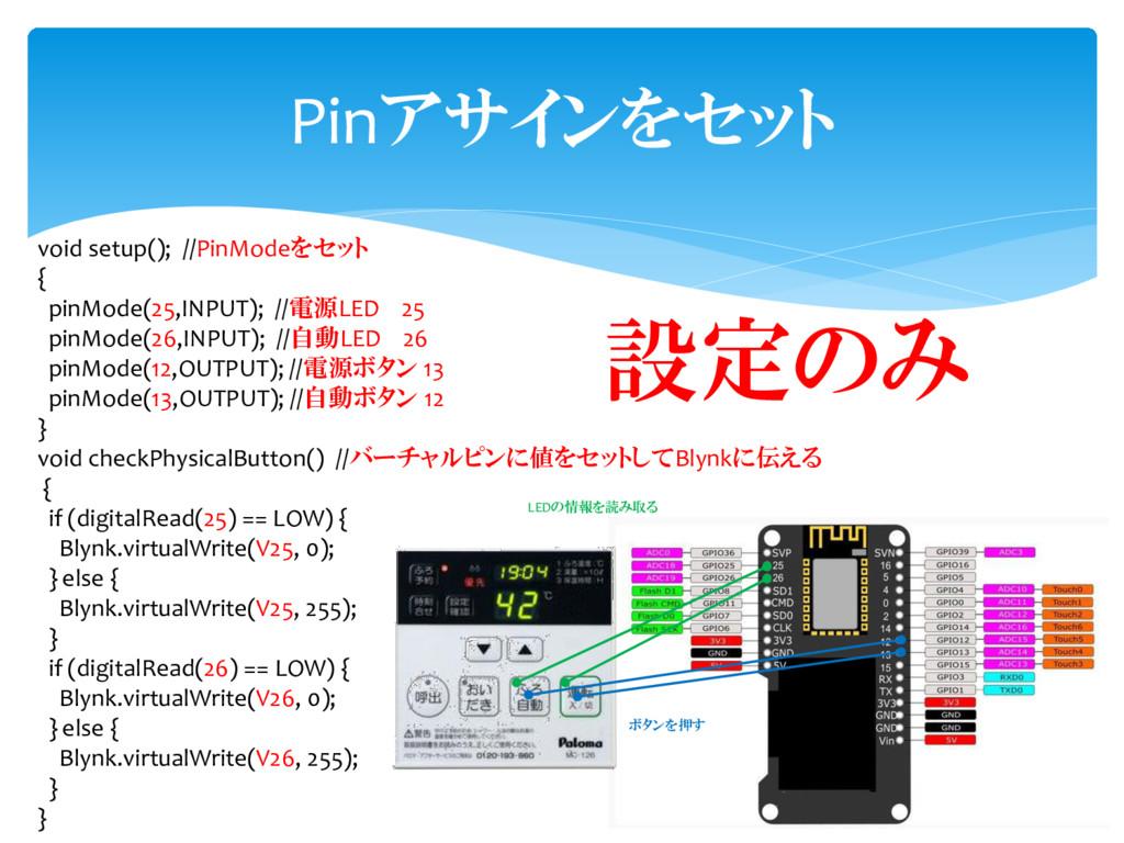 void setup(); //PinModeをセット { pinMode(25,INPUT)...
