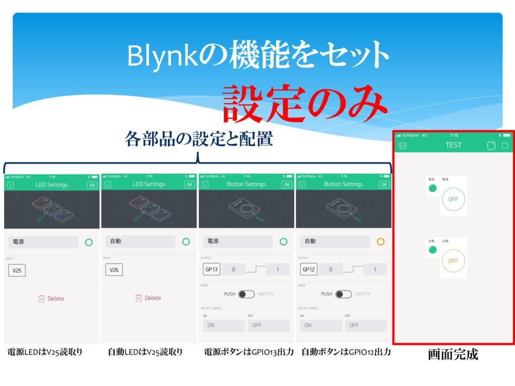Blynkの機能をセット 電源LEDはV25読取り 自動LEDはV25読取り 電源ボタンはGP...