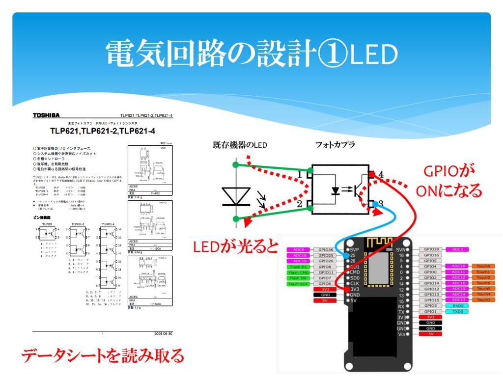 電気回路の設計①LED データシートを読み取る 既存機器のLED フォトカプラ LEDが光ると...