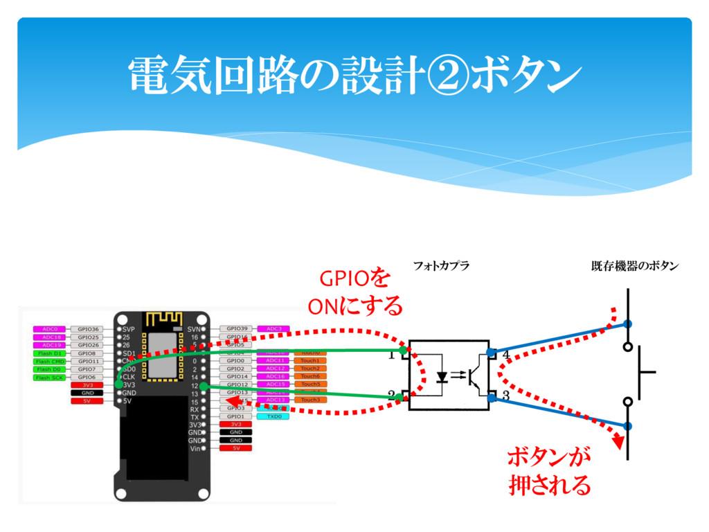 電気回路の設計②ボタン 既存機器のボタン フォトカプラ ボタンが 押される GPIOを ONに...