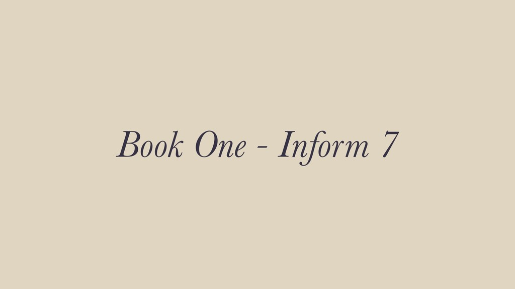 Book One - Inform 7